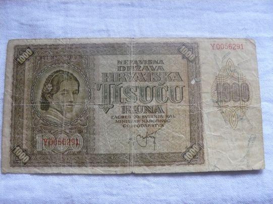 1000 хърватски куни 1941г.